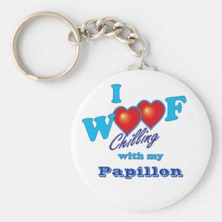 I Woof Papillon Basic Round Button Key Ring