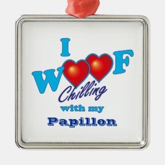 I Woof Papillon Silver-Colored Square Decoration