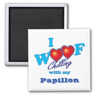 I Woof Papillon Square Magnet