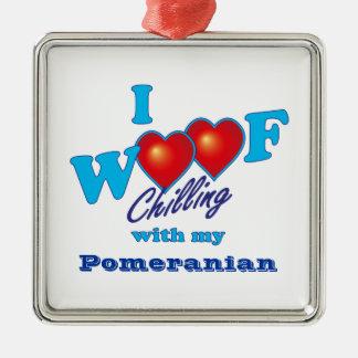 I Woof Pomeranian Christmas Ornament