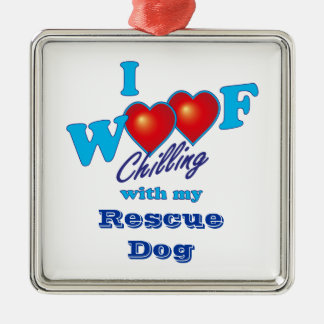 I Woof Rescue Dog Christmas Ornament