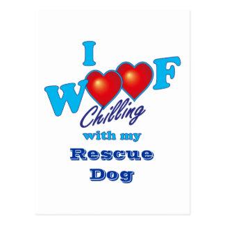 I Woof Rescue Dog Postcard