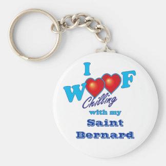 I Woof Saint Bernard Basic Round Button Key Ring
