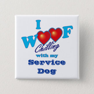 I Woof Service Dog 15 Cm Square Badge