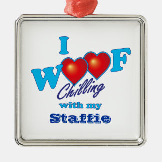 I Woof Staffies Silver-Colored Square Decoration