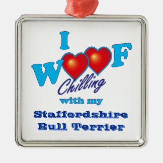I Woof Staffordshire Bull Terrier Silver-Colored Square Decoration