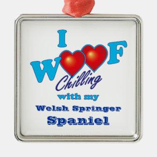 I Woof Welsh Springer Spaniel Silver-Colored Square Decoration