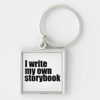 I write my own storybook Silver-Colored square key ring