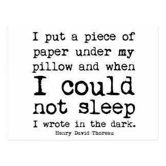 I Wrote in the Dark Thoreau Quote Postcard