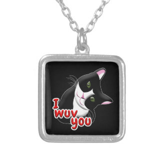 I wuv you Cat Silver Plated Necklace