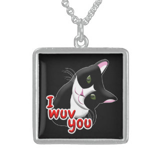 I wuv you Cat Sterling Silver Necklace