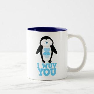 I wuv you penguin with cupcake hearts Two-Tone mug