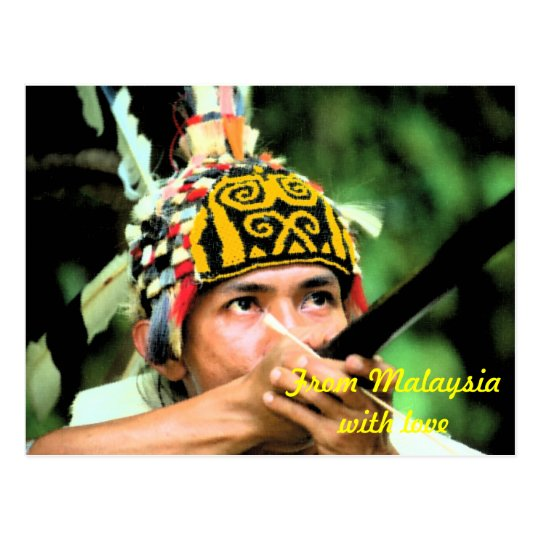 Iban Warrior with blowpipe Postcard