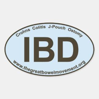 IBD - Crohns Colitis - Oval Sticker - Blue/Brown