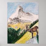 Ibex Over viewing The Matterhorn Poster