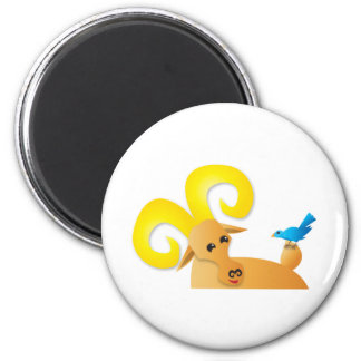 Ibex ram and bird 6 cm round magnet