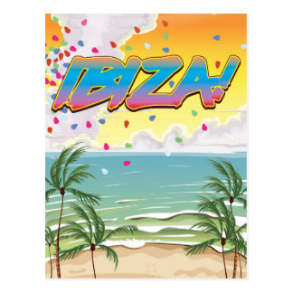 Ibiza beach Party travel poster Postcard
