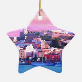 Ibiza Eivissa Old Town And Harbour Pearl Christmas Ornament