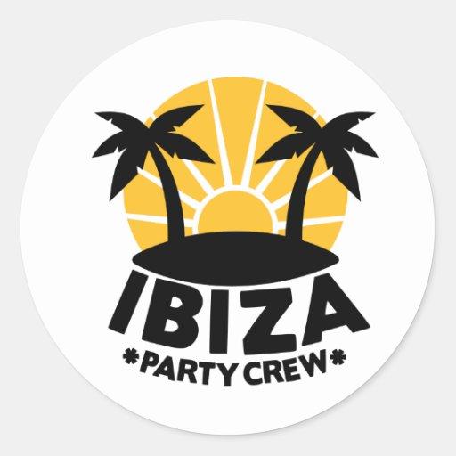 Ibiza Party Crew Round Stickers