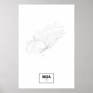 Ibiza, Spain (black on white) Poster