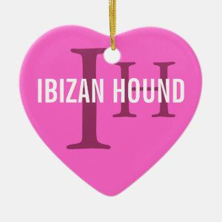 Ibizan Hound Breed Monogram Ceramic Heart Decoration
