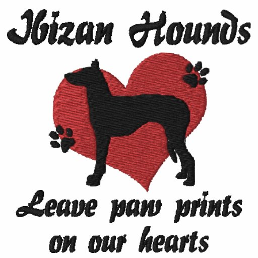 Ibizan Hounds Leave Paw Prints Embroidered Hoody
