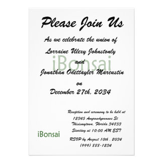 iBonsai green text bonsai design Custom Invitation