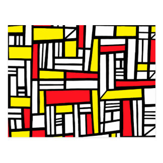 Iborra Abstract Expression Yellow Red Black Postcard