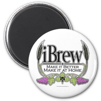 iBrew Beer and Wine 6 Cm Round Magnet