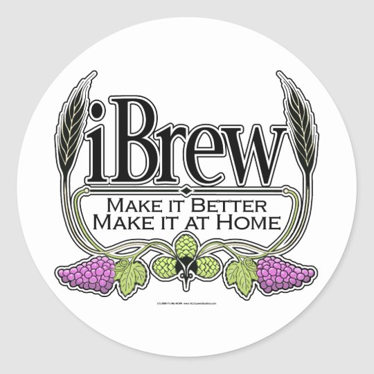 iBrew Beer and Wine Classic Round Sticker