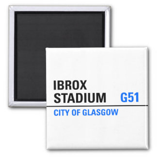 Ibrox Stadium Street Sign Square Magnet
