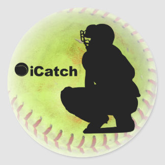 iCatch Fastpitch Softball Classic Round Sticker