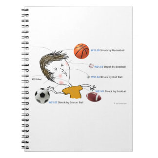 ICD-10: W21 Struck by Balls Notebook
