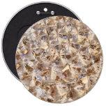 Ice Amber Diamond Crystals Glitter Bling Pinback Button