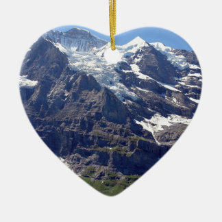 Ice and rocks in the Swiss Alps Double-Sided Heart Ceramic Christmas Ornament