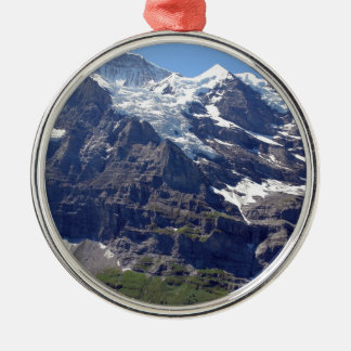 Ice and rocks in the Swiss Alps Silver-Colored Round Decoration