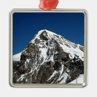 Ice and snow in the Swiss Alps Square Metal Christmas Ornament