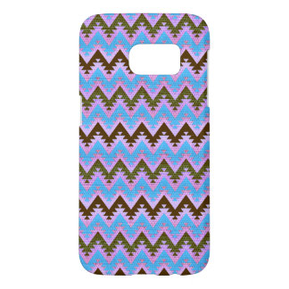 Ice Blue and Brown Aztec Chevron Stripes