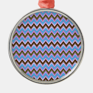 Ice Blue and Brown Aztec Chevron Stripes Christmas Ornament