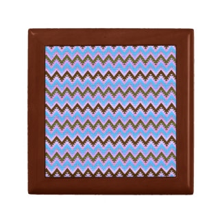 Ice Blue and Brown Aztec Chevron Stripes Gift Box