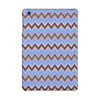 Ice Blue and Brown Aztec Chevron Stripes iPad Mini Case