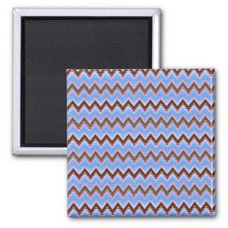 Ice Blue and Brown Aztec Chevron Stripes Magnet