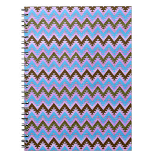Ice Blue and Brown Aztec Chevron Stripes Notebook