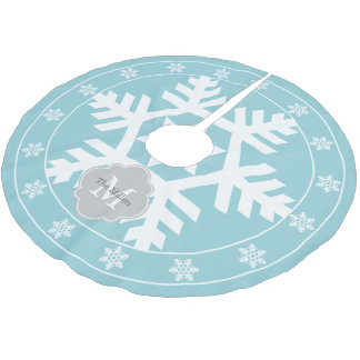 Ice Blue and Light Gray Giant Snowflake Brushed Polyester Tree Skirt