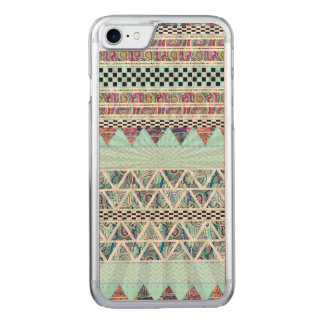 Ice Blue Boho Tribal Stripes Starburst Carved iPhone 8/7 Case