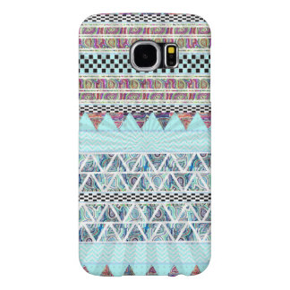 Ice Blue Boho Tribal Stripes Starburst Samsung Galaxy S6 Cases