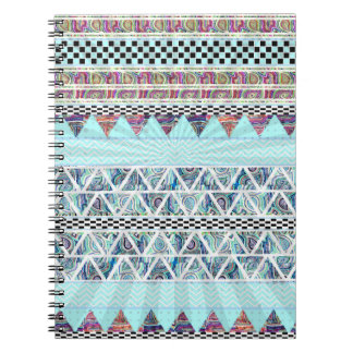 Ice Blue Boho Tribal Stripes Starburst Spiral Note Books