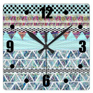 Ice Blue Boho Tribal Stripes Starburst Square Wall Clock