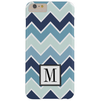 Ice Blue Chevron Print Initial Monogram Barely There iPhone 6 Plus Case