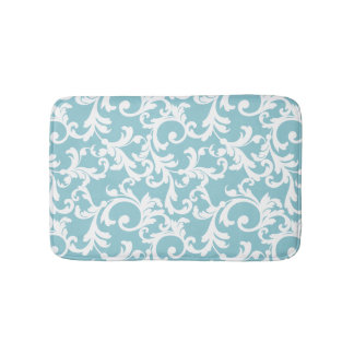 Ice Blue Elegant Damask Bath Mat